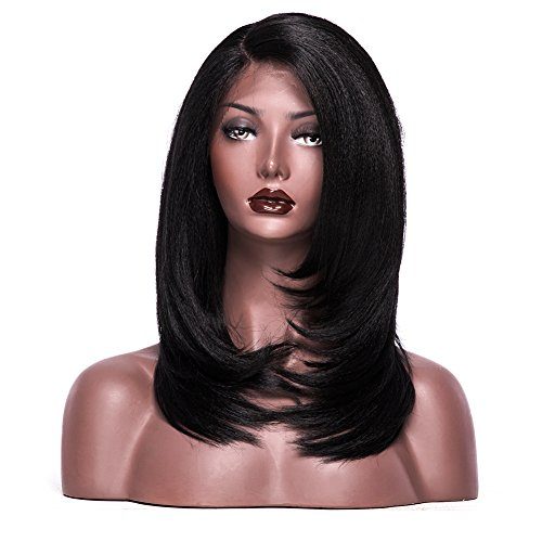 Colodo Lace Front Wigs Synthetic for Women L Part Yaki Straight 18 Inches ()