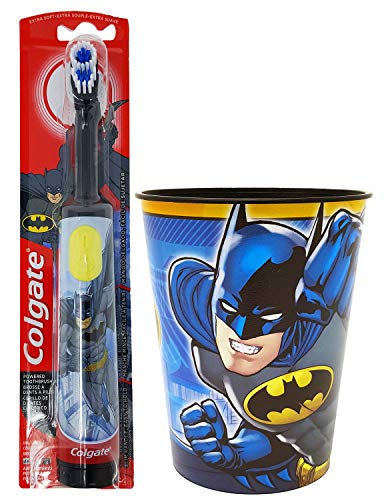 Batman Toothbrush Kids Set: 2 Items - Powered Toothbrush, Character Rinse Cup