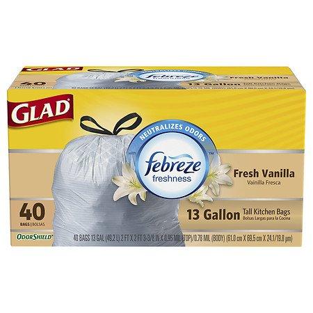 OdorShield Tall Kitchen Drawstring Trash Bags Fresh Vanilla