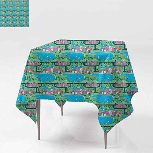 AndyTours Spill-Proof Table Cover,Kids Car Race Track Roadway Activity,Modern Waterfront City View Drawing in Lively Colors,Party Decorations Table Cover Cloth,54x54 Inch Multicolor]()