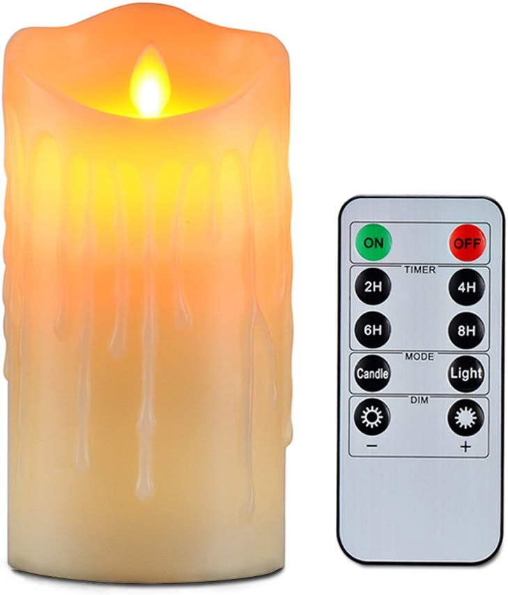 "Flameless Candles with 10 Key Remote Timer Flickering Tear Wave Shaped Tealight 3x5"" Real Wax Simulate Dripping led Candles Battery Operated Safe for Halloween Christmas Indoor Outdoor Decor"