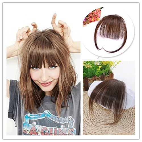Moresoo Medium Brown Front Fringe with Hair Temples One piece Clip in Hair Bangs 100% Real Huaman Hair