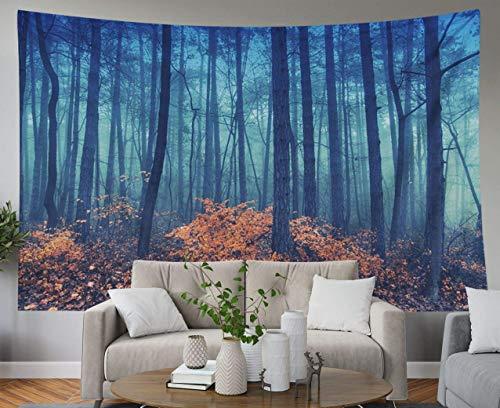 N / A Tapisseries Bleues, Tapisserie Murale Suspendue pour D & Eacute; cor Salon dortoir Brumeux forêt saisonnière Arbre…