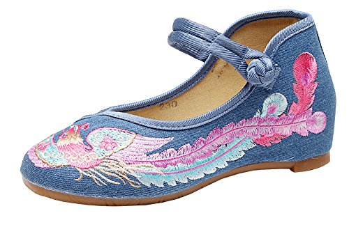 Avacostume Mujeres Colorful Phoenix Imitation Ox-tendon Sole Bordado Flats Azul