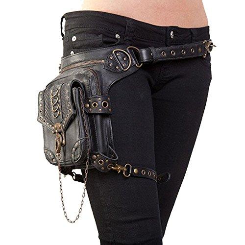UIYTR Halloween Steampunk Retro Motorcycle Bag Lady Bag Retro Rock Gothic Goth Shoulder Waist Bags Packs]()