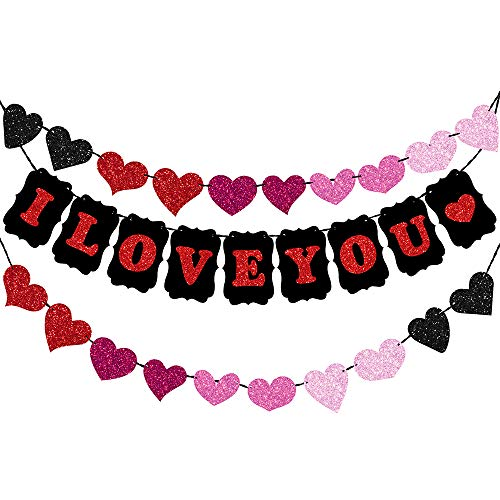 Supla 26' Long I Love You Letters Bunting Banner Flag and Heart Sign Valentine's Day Glitter Heart Banner Garland Party Backdrop String Garland Decoration for Kids Wedding Birthday Baby Bridal Shower