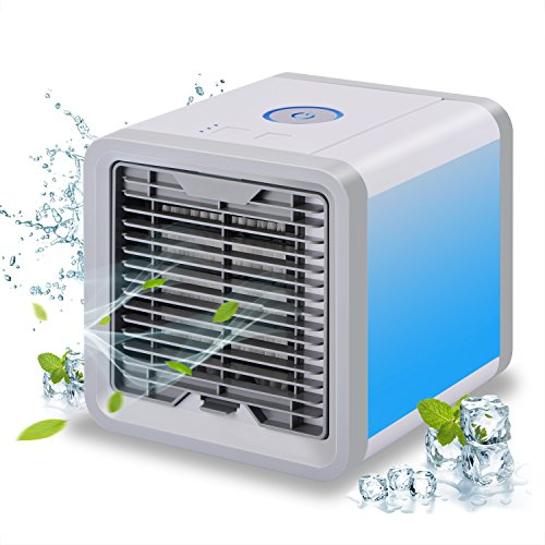 ADDSMILE Portable Air Cooler Desktop Air Conditioner Personal Air Purifier Humidifier USB Powered with 3 Speeds and 7 Colors Changing LED Lights for Home Beds Office Gym Yoga Spa and Outdoors
