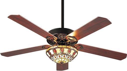 Lampsmore Indoor TIFFANY Ceiling Fan 52 inch Matte Black 5 Blades E26 Ceiling Fan