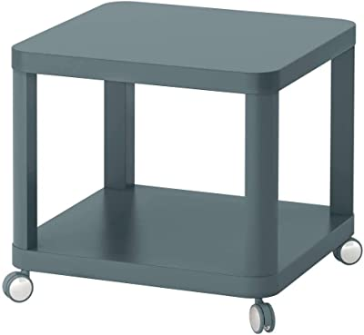 TINGBY Side table on castors, turquoise