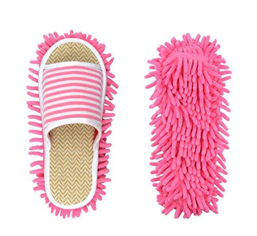 Mop Slippers - Women Slipper Microfiber Floor Cleaning Mop Ladies Slippers Dust Cleaning Tool Slipper Genie