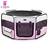 X-ZONE PET 45″ Portable Foldable Pet Dog Cat Playpen Crates Kennel/Premium 600D Oxford Cloth,Removable Zipper Top, Indoor and Outdoor Use (Pink)