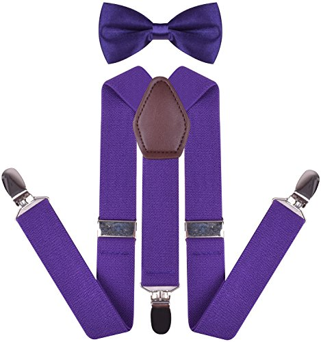 YJDS Boys' Leather Suspenders and Pre Tied Bowtie Set Purple 30 Inches