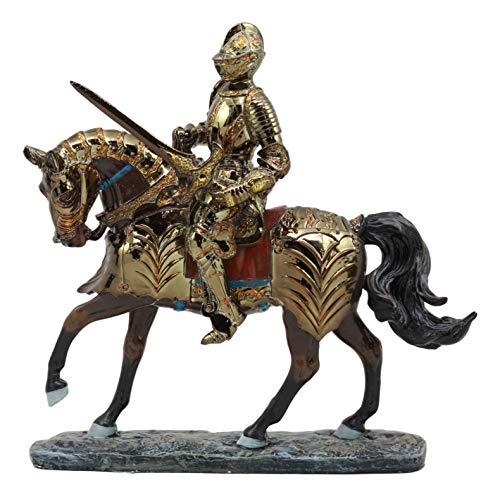 (Ebros Medieval Tournament Knight On Armored Cavalier Horse Figurine Collectible Statue Electroplated Golden Silver Resin Suit of Armor Swordsman Renaissance Decor Figurine)
