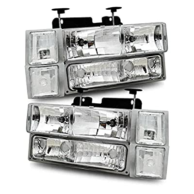 SPPC Clear Crystal Headlights Sets For Chevy Fullsize - Passenger and Driver Side
