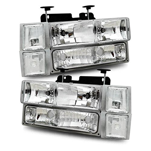 SPPC Clear Crystal Headlights Sets For Chevy Fullsize - Passenger and Driver Side (97 Silverado Headlights compare prices)
