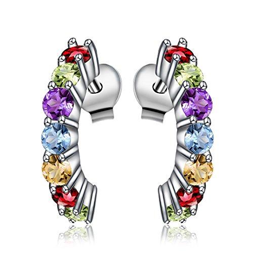 Jewelrypalace 0.7ct Multicolor Natural Amethyst Citrine Garnet Peridot Blue Topaz Stud Earrings 925 Sterling (Citrine Peridot Earrings)