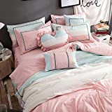 TideTex 4PC Simple Student Teens Girl Cotton Bedding Set Pink Blue College Dorm Soft Cozy Duvet Cover Sets Washable 4-piece Nordic Bedding Bed Skirt (Full, A)