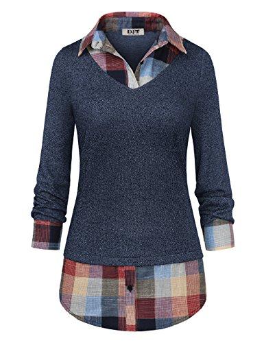 Women's Plaid Layered T-Shirt, DJT Curved Hem Buttons Pullover Tops 3/4 Sleeve Sweatshirt T-Shirt Top L Blue #2