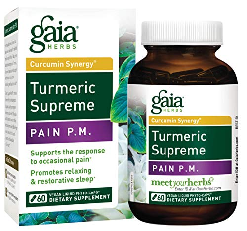 Cheap Gaia Herbs Turmeric Supreme Pain P.M, Vegan Liquid Capsules, 60 Count – Turmeric Curcumin Supplement Promotes Relaxing Sleep & Healthy Pain Response, with Kava & Valerian