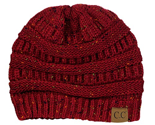 C.C Unisex Colorful Confetti Soft Stretch Cable Knit Beanie SkullCap-Burgundy Acrylic Skull Hat