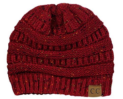 C.C Trendy Warm Chunky Soft Stretch Cable Knit Beanie Skully, Confetti Burgundy ()
