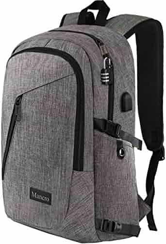 Laptop Backpack, Travel Computer Bag for Women & Men, Anti Theft Water Resistant College School Bookbag, Slim Business Backpack w/ USB Charging Port Fits UNDER 17