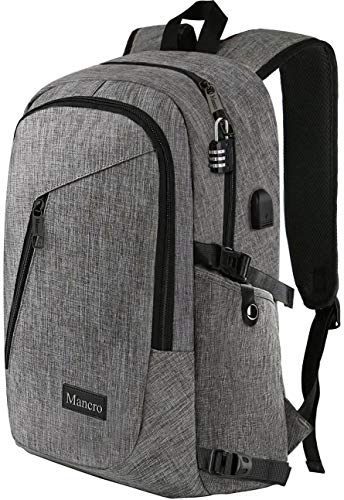 "Laptop Backpack, Travel Computer Bag for Women & Men, Anti Theft Water Resistant College School Bookbag, Slim Business Backpack w/ USB Charging Port Fits UNDER 17"" Laptop & Notebook by Mancro (Grey)"