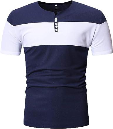 TIFIY Verano Nuevo 2019 Camiseta Casual Hombre Basicas Simple Cuello V Manga Corta Coincidencia de Colores Salvaje Modo Camisas Verano: Amazon.es: Ropa y accesorios
