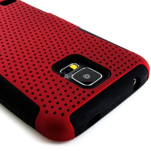 myLife Dark Rose Red and Charcoal Black - Perforated Mesh Series (2 Layer Neo Hybrid) Slim Armor Case for the NEW Galaxy S5 (5G) Smartphone by Samsung (External Rubberized Hard Shell Mesh Piece + Internal Soft Silicone Flexible Gel)