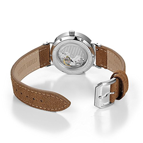 Bauhaus Watch Men's Automatic Watch FEICE Mechanical Wristwatch Minimalist Stainless Steel Leather Band Casual Dress Watches for Women Unisex #FM201 (Brown)