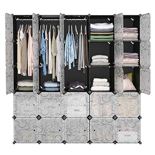 LANGRIA 25-Cube DIY Modular Shelving Storage Organizer Extra Large Wardrobe with Clothes Rod, Furniture for Clothes (Patterned Black)