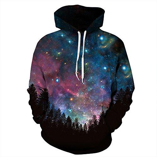 NEWCOSPLAY Unisex Realistic 3D Digital Print Pullover Hoodie Hooded Sweatshirt (S/M, Galaxy Forest)