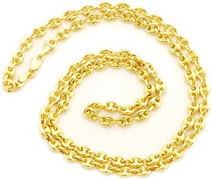 Solid 14k Yellow Gold 4.7mm Puffed Mariner Chain Necklace, 18