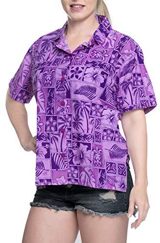 (LA LEELA Likre Camp Aloha Beach Top Shirt Violet 388|XXL - US 44 -)