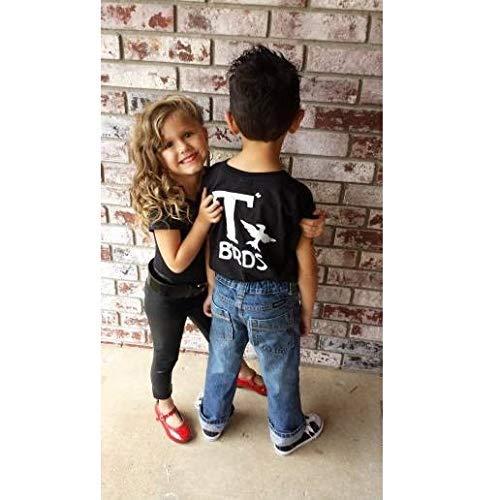 T Birds t-shirt child boys shirt Greaser Black Shirt Tshirt black lightning rocker 1950s 50s movie 18M to Youth XL sock hop dance music -