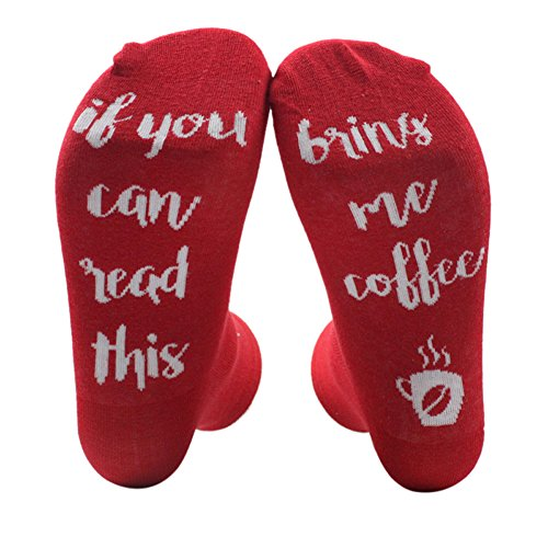 Uwback Unisex Socks IF You Can Read This PLEASE Bring Me A Glass of Wine Bear Coffee Knitting Word Socks (Unisex Bear)