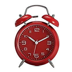 KINGSO 4'' Twin Bell Loud Alarm Clock with Stereoscopic Dial, light, Battery Operated Vintage Retro Style for Bedroom Red