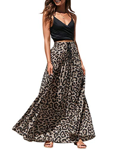 Valphsio Women High Waisted A-Line Leopard Print Swing Velour Skirts Brown