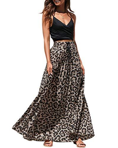Womens Maxi Skirt Leopard Print Chiffon Beach Pleated High Waisted A-Line Long Skirts