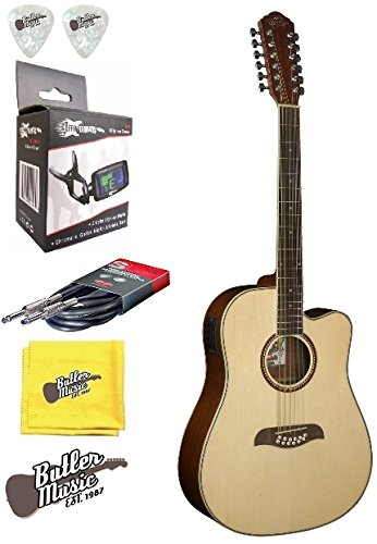 Oscar Schmidt OD312CE 12 String A/E Spruce Top Guitar W/Effin Tuner and More (String Washburn 12)