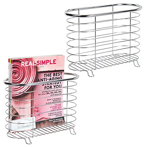 mDesign Decorative Metal Farmhouse Magazine Holder and Organizer Bin - Standing Rack for Magazines, Books, Newspapers, Tablets in Bathroom, Family Room, Office, Den - 2 Pack - Chrome