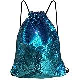 Alritz Mermaid Sequin Drawstring Bags, Reversible Flip Sequins Backpacks Magic Tote Glittering Shoulder Bags for Girls Kids Women