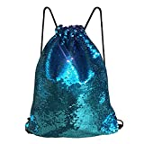 Cheap Alritz Mermaid Sequin Drawstring Bag, Reversible Sequin Backpack Glittering Outdoor Shoulder Bag for Girls Boys Women (Blue/Purple)