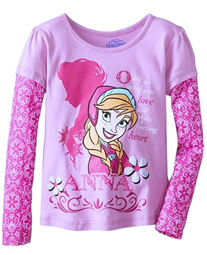 Disney Little Girls' Anna Long Sleeve T-Shirt, Purple, 2T (Toddler Purple Character T-shirt)