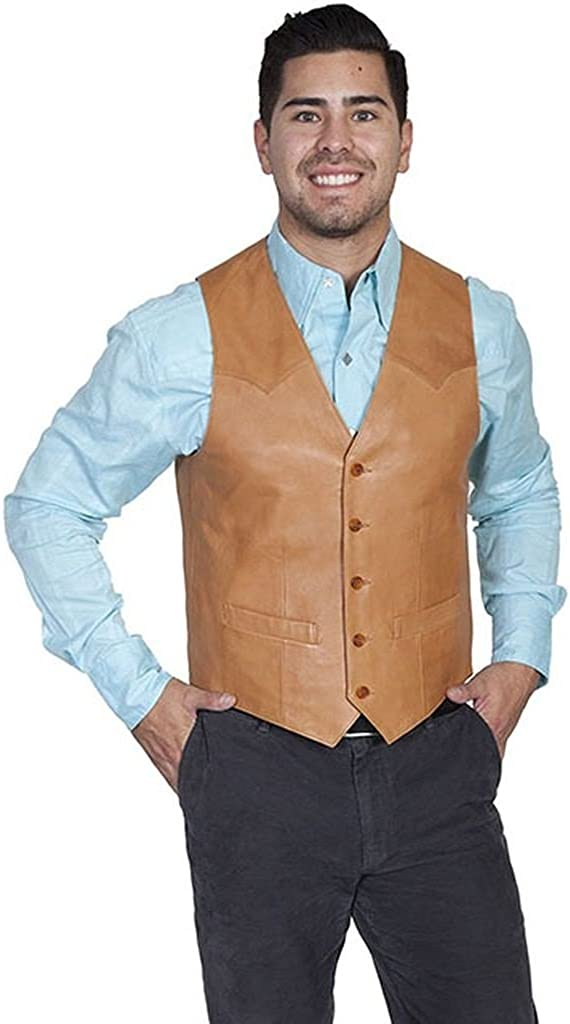 Scully Men's Lamb Leather Western Vest Tall Tan 50 T