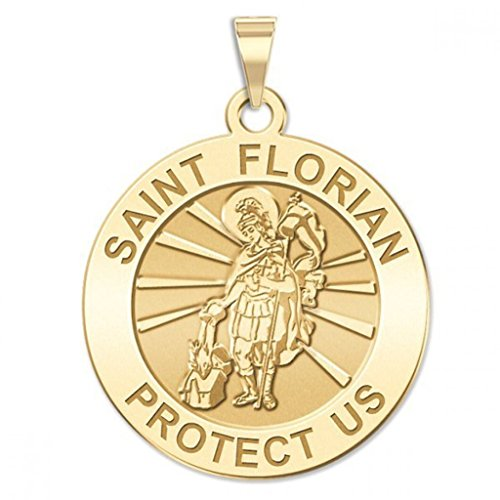 PicturesOnGold.com 14K Yellow Gold Saint Florian Religious Medal - 2/3 Inch Size of a Dime -Solid 14K Yellow Gold (Gold Medal Florian Saint)