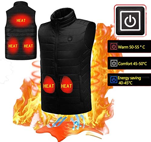 - KOBWA Electric Heated Vest Waistcoat Gilet Men Women Heated Coat Clothes Winter Adjustable 5V USB Charging Outdoor Sport Warm Insulated Vest, M