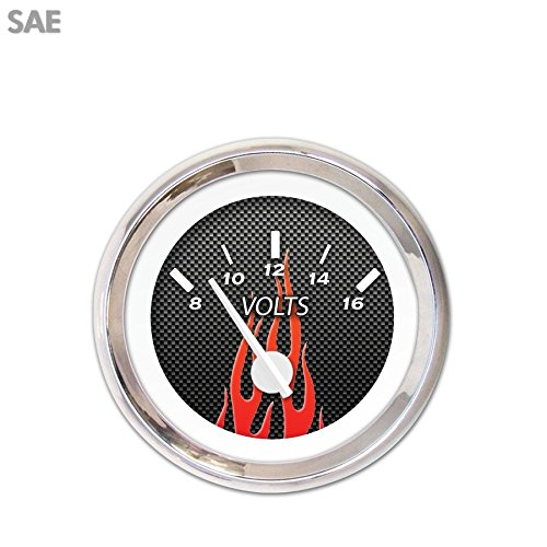 Aurora Instruments 1843 Carbon Fiber Red Flame SAE Volt Gauge White Modern Needles, Chrome Trim Rings, Style Kit Installed
