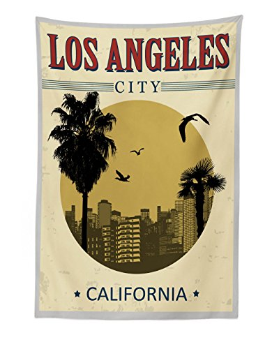 (Lunarable USA Tapestry, Los Angeles City from California in Vintage Style Birds Vacation Journey Travel Theme, Fabric Wall Hanging Decor for Bedroom Living Room Dorm, 30 W X 45 L)