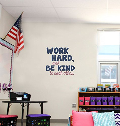 Work Hard, Be Kind To Each Other Vinyl Letters Stickers Wall Decals Art Inspirational Back to School Quote 23x22-Inch Deep Blue/Berry by Wall Decor Plus More (Image #2)